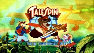 The TaleSpin Volume 2 DVD's main menu: The side characters, front grass, and backdrop color change for each disc, but the idea is the same.