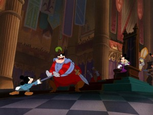 "The real prince stands up to captain of the guard Pete in Disney's enjoyable 1990 Mickey Mouse featurette ""The Prince and the Pauper."""