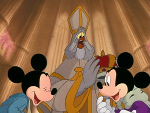 "Mickey and Mickey laugh it up in ""The Prince and the Pauper""'s inevitably happy ending."