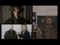 Costume designer Joan Bergin displays one of her suits for Jonathan Rhys Meyers, impressively similar to the one seen in King Henry VIII's famous portrait.