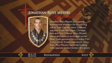 "Jonathan Rhys Meyers' career is profiled on several screens, just one of several cast members featured in the ""Tudors""' biography section."