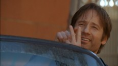 "David Duchovny makes a lewd gesture in the bonus ""Californication"" episode."