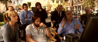 One gathers that the process of creating a TV series today is quite nerve-racking. Tension permeates this shot, in which Alice, Mike, and at-odds director (Willie Garson) and cameraman (M.C. Gainey) watch filming, with network suits breathing down their necks.