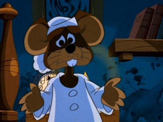 "Like he's approaching a tall piece of cheddar, Father Mouse (voiced by George Gobel) starts from the top, despite this special supposedly being ""told and sung by Joel Grey."""
