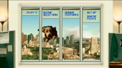 The window of an office building is the setting of the animated main menu, on which Underdog flies by and talks.