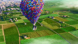 Thousands of vibrant helium balloons lift Carl's house up, up, and away over cities and farmland.