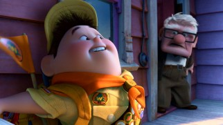 Plump Junior Wilderness Explorer Russell holds onto Carl's airborne house, something he's been looking after in search of his final badge.