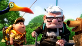 "The four unlikely travelers of Pixar's ""Up"" reunite and pause for a moment."