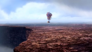 Carl Fredricksen's balloon-lifted house floats above a South American tepui near his intended destination Paradise Falls.