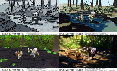 "From storyboard to final lighting, an ""Up"" shot of Russell and Carl appears in four different stages of production. (Click for larger view)."