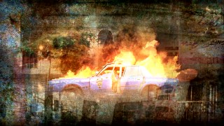 The Blu-ray's busy montage features the New York City cop car fire which brings shame to the NYPD.