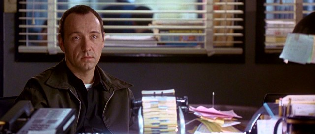 "As cerebral palsy-afflicted Roger ""Verbal"" Kint, Kevin Spacey answers a U.S. Customs agent's questions throughout much of ""The Usual Suspects"", the film that won him his first Oscar."