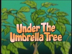 "The ""Under the Umbrella Tree"" title logo as seen at the beginning of each episode."