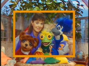 The cast photo as seen in the opening credits. Clockwise from top left: Holly, Jacob Blue Jay, Iggy Iguana, and Gloria Gopher.