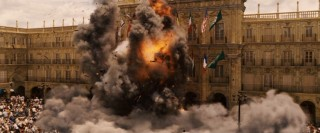 "An explosion rocks the Plaza Mayor -- or rather, a convincing replica created for the production of ""Vantage Point."""