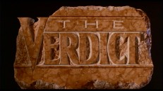 "The title logo for ""The Verdict"" is seen in the movie's theatrical trailer."