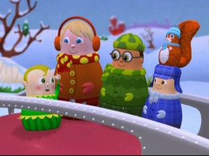 Pix, a North Pole Newbie elf voiced by Sean Astin, brainstorms with the Higglytown gang of how to solve both their problems in one bold stroke.