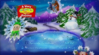 The animated main menu displays falling snowflakes which bear images from the disc's episodes.