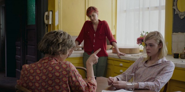 Dorothea asks Abbie (Greta Gerwig) and Julie (Elle Fanning) to help her with the load of raising her son.