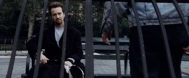 "Monty Brogan (Edward Norton) is shot behind bars on his last day as a free man in ""25th Hour."""