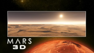 A sunset on Mars is shown on the Mars 3D portion of the Blu-ray menu.