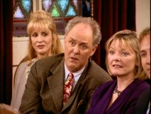 "Obnoxiously high on cough syrup, Dick (John Lithgow) accompanies Mary (Jane Curtin) at a wedding in ""Post Nasal Dick."""