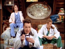 "Tommy, Harry, and Sally are worn out by their day of doctoring in ""Selfish Dick."""
