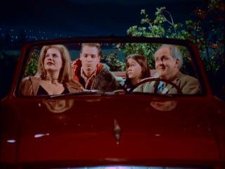 "Parked in a popular makeout spot, the Solomons adjust to their new human bodies in the ""3rd Rock"" pilot episode."