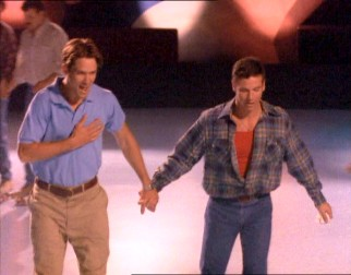 Shortly after meeting, Jon Fielden (Billy Campbell) and Michael Tolliver (Marcus D'Amico) share a couple's roller skate.