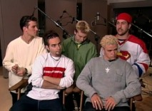 It must be the '90s if Justin Timberlake has platinum curls and is hanging around with these four guys.