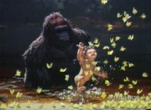 An early presentation reel promotes Tarzan with concept art and Phil Collins chant.