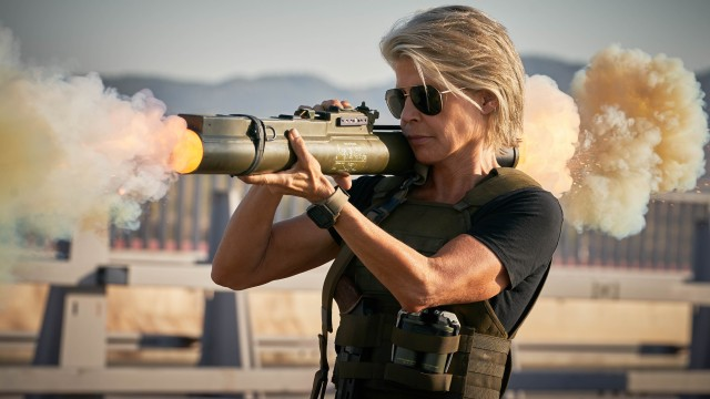 "Linda Hamilton returns to the Terminator franchise for the first time in nearly thirty years, playing the aging but no less formidable Sarah Connor in ""Terminator: Dark Fate."""