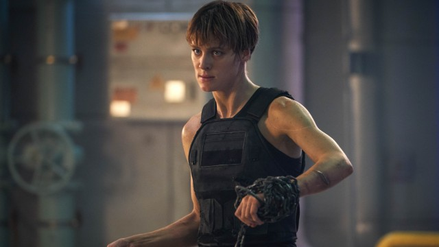 "The cybernetically enhanced human soldier Grace (Mackenzie Davis) has a bigger role than Arnold Schwarzenegger's iconic T-800 in ""Terminator: Dark Fate."""