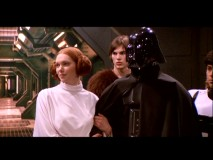 A Princess Leia-esque Donna clings to Darth Vader while Chewbacca Kelso looks on in the only Season 1 sequence that should be in widescreen.