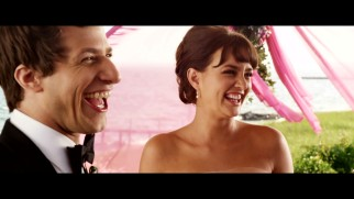 Andy Samberg and Leighton Meester crack up at the altar in the gag reel.