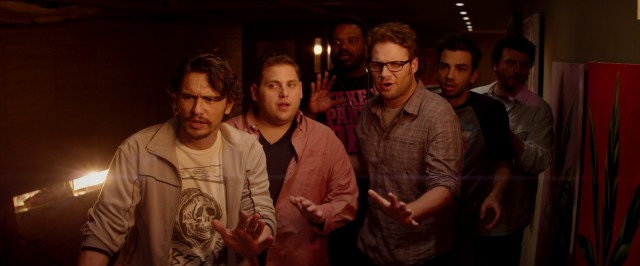 "In ""This Is the End"", six actor friends (James Franco, Jonah Hill, Craig Robinson, Seth Rogen, Jay Baruchel, and Danny McBride) try to survive the apocalypse holed up in Franco's new house."