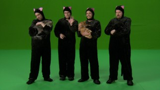 "The stars of ""This Is the End"" hold cats while dressed in cat costumes in a marketing outtake."