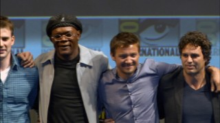 "The all-star cast assembled for next year's ""The Avengers"" (pictured: Chris Evans, Samuel L. Jackson, Jeremy Renner, and Mark Ruffalo) stands together at a Comic-Con 2010 panel."