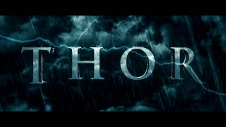 "This stormy ""Thor"" title logo is used in both of its included trailers."