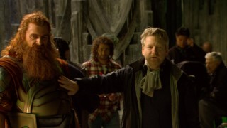 "Shakespearean filmmaker Kenneth Branagh reveals himself to be a hands-on director, as he touches Volstagg (Ray Stevenson) in ""From Asgard to Earth."""