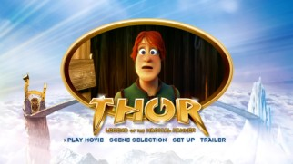 The DVD's main menu places a large golden oval playing clips on the bridge between Valhalla and an icy mountain.