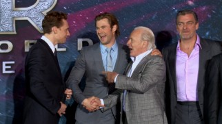 "The hunks of ""Thor"" act friendly with one another on the red carpet of Hollywood's ""Dark World"" premiere."