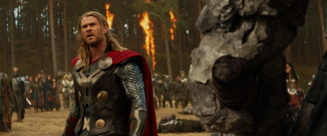 "At Vanaheim, Thor (Chris Hemsworth) gives a giant rock monster the chance to surrender in ""Thor: The Dark World."""