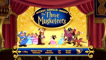 The cast takes its bows on stage in the animated new Mickey, Donald, Goofy: The Three Musketeers DVD main menu.