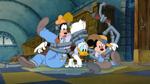 "Royal janitors Goofy, Donald Duck, and Mickey Mouse don't exactly appear to be Musketeer material in ""Mickey, Donald, Goofy: The Three Musketeers."""