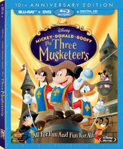 Mickey, Donald, Goofy: The Three Musketeers (2004) Blu-ray + DVD + Digital HD Digital Copy combo pack cover art