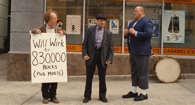 Larry (Sean Hayes), Moe (Chris Diamantopoulos), and Curly (Will Sasso) advertise their services with sidewalk spectacle.