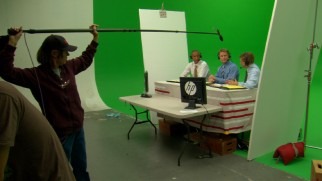 Though you can't tell in the final film, Reggie Miller, Steve Kerr, and Marv Albert shot their scenes of TNT color commentary on a green screen set.