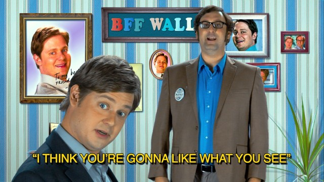"Tim Heidecker and Eric Wareheim promote the S'wallow Valley Mall's grand reopening in precisely the colorful manner you'd find on ""Awesome Show, Great Job!"""