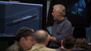 "James Cameron and friends try to refine their animated simulation of the Titanic's sinking in the 2012 National Geographic documentary ""The Final Word."""